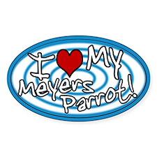 Hypno I Love My Meyers Parrot Oval Sticker Blue
