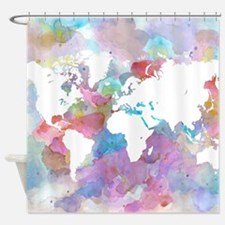 Design 48 World Map Shower Curtain