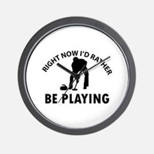 I'd Rather Be Playing Curling Wall Clock
