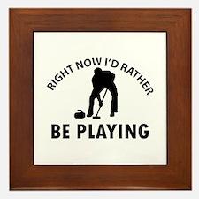 I'd Rather Be Playing Curling Framed Tile