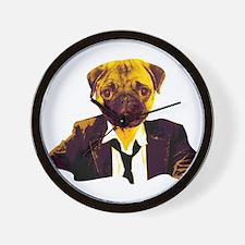 Pug at work Wall Clock