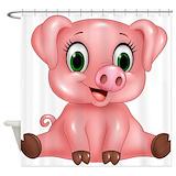 Cartoon pig Shower Curtains