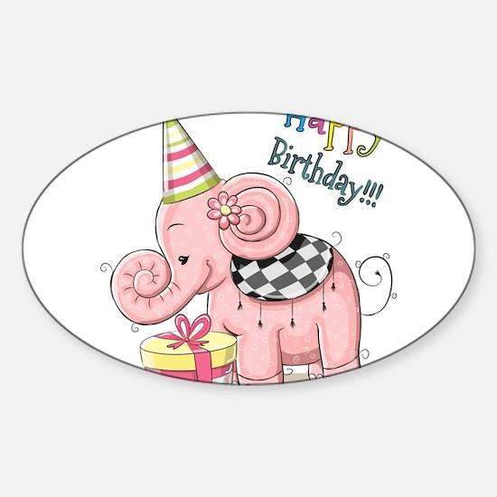 Happy birthday elephant Decal