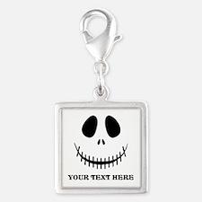 Custom Halloween Skeleton Silver Square Charm
