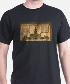 Vintage Illustration of Independence Hall T-Shirt
