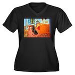 Room / Rottweiler Women's Plus Size V-Neck Dark T-