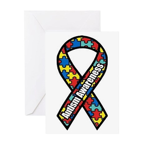 autism-puzzle-ribbo... Greeting Cards