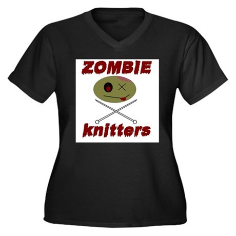 zombie knitter Women's Plus Size V-Neck Dark T-Shi
