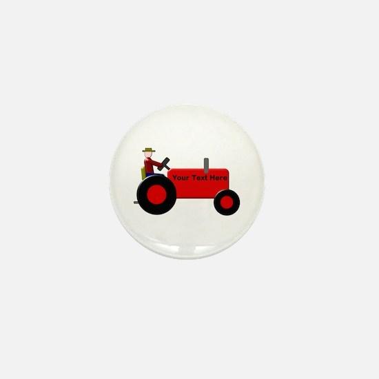 Personalized Red Tractor Mini Button