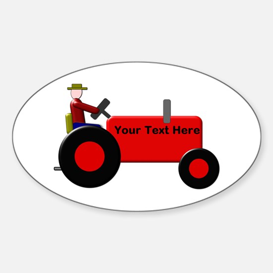 Personalized Red Tractor Sticker (Oval)