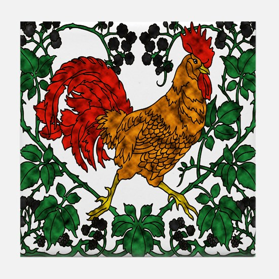 Rooster and Blackberries Tile Coaster