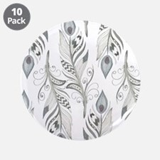 """Beautiful Feathers 3.5"""" Button (10 pack)"""
