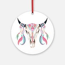 Buffalo Skull Round Ornament