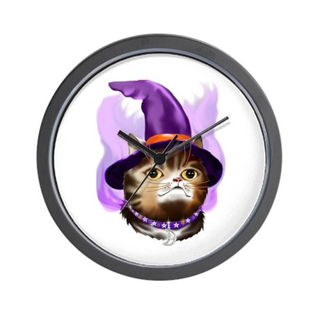 Witch Face Kitty Wall Clock