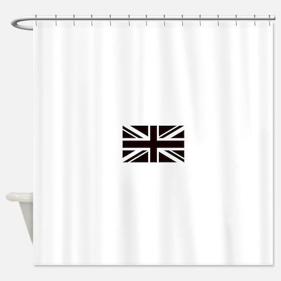 black union jack british flag Shower Curtain