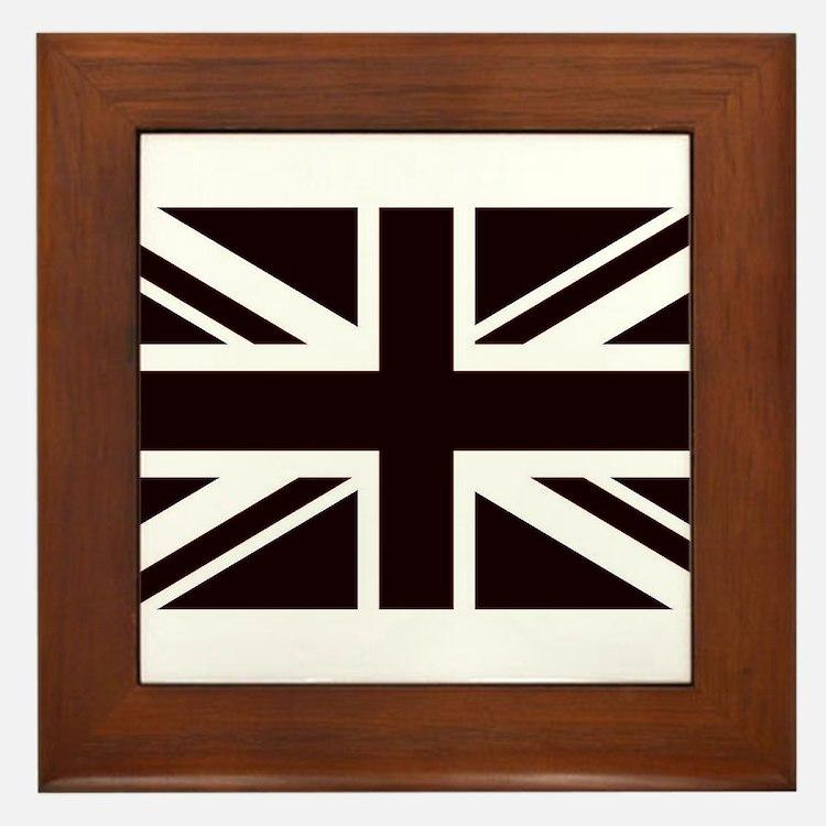black union jack british flag Framed Tile