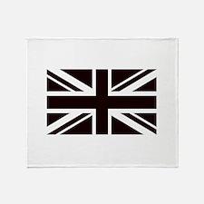 black union jack british flag Throw Blanket