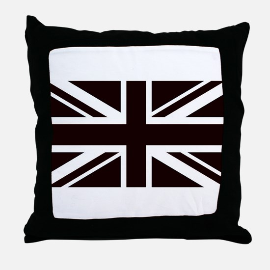 black union jack british flag Throw Pillow