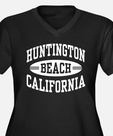 Huntington B Women's Plus Size V-Neck Dark T-Shirt