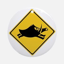 Beware of Wild Boars, Japan Ornament (Round)