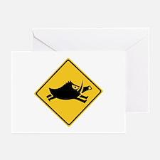 Beware of Wild Boars, Japan Greeting Cards (Pk of