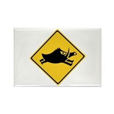 Beware of Wild Boars, Japan Rectangle Magnet