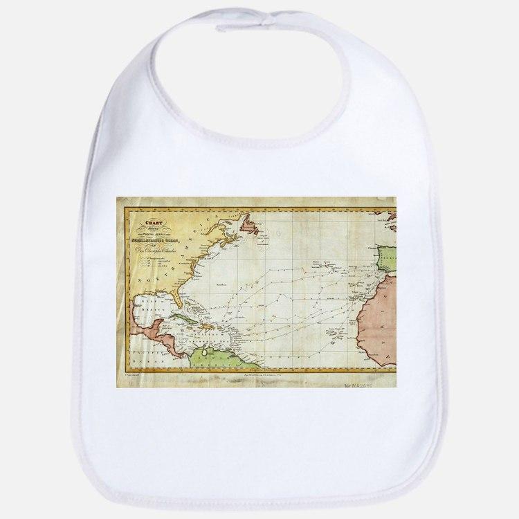 Vintage Christopher Columbus Voyage Map (1828) Bib