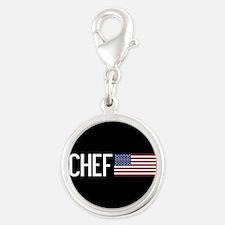 Careers: Chef (U.S. Flag) Silver Round Charm