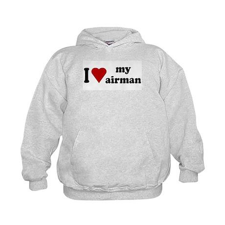 I Love My Airman Kids Hoodie