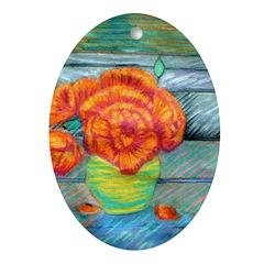 Yellow Vase Oval Ornament