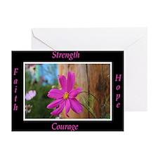 Survivors Pink Flower Greeting Cards (Pk of 20)