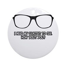 Black Geek Glasses Round Ornament