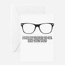 Black Geek Glasses Greeting Cards