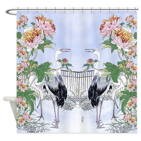 crane peony floral botanical shower curtain