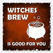 "WITCHES BREW Square Car Magnet 3"" x 3"""