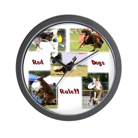 Red Dogs Rule - Frisbee! Wall Clock