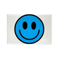 Classic Blue Smiley Face Rectangle Magnet