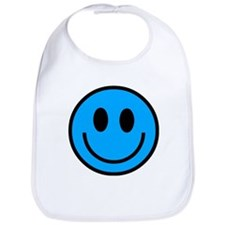 Classic Blue Smiley Face Bib