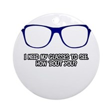 Blue Geek Glasses Round Ornament