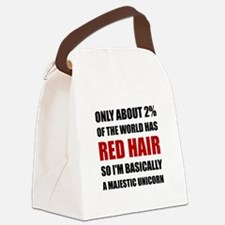 Red Hair Majestic Unicorn Canvas Lunch Bag