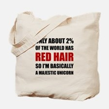 Red Hair Majestic Unicorn Tote Bag