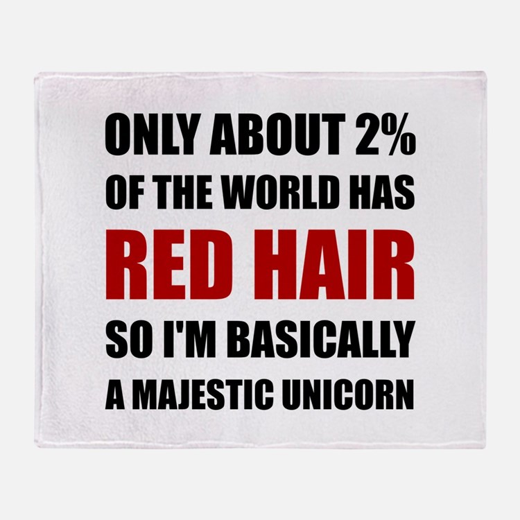 Red Hair Majestic Unicorn Throw Blanket