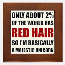Red Hair Majestic Unicorn Framed Tile