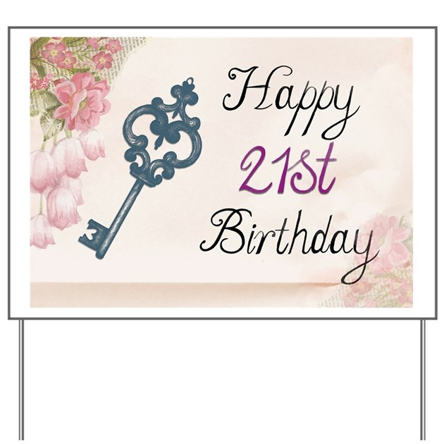 Happy 21st Birthday (Vintage) Yard Sign By Admin_CP132385173