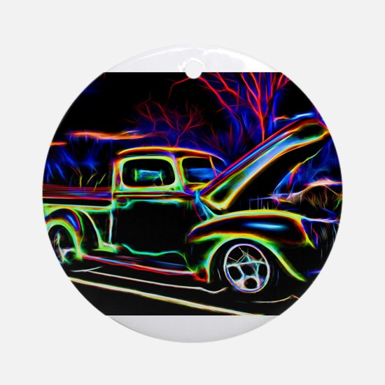 1940 Ford Pick up Truck Neon Round Ornament