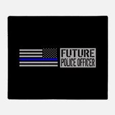Police: Future Police Officer (Black Throw Blanket