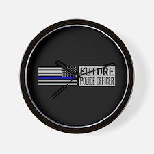 Police: Future Police Officer (Black Fl Wall Clock