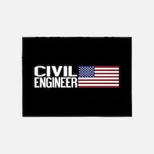Careers: Civil Engineer (U.S. Flag) 5'x7'Area Rug