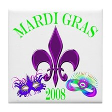 Mardi Gras w/ Mask Tile Coaster