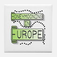 Green Honeymoon Europe Tile Coaster